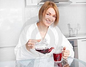 Woman Drinking Tea Stock Image - Image: 17745851