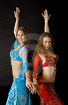 Two Young Woman Dance And Smile Royalty Free Stock Photo - Image: 17747055