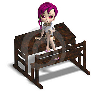 Cute Little Cartoon School Girl Sitting On A Royalty Free Stock Photography - Image: 17747577