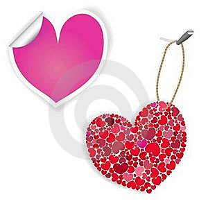 Pink And White Heart Labels Stock Images - Image: 17749494
