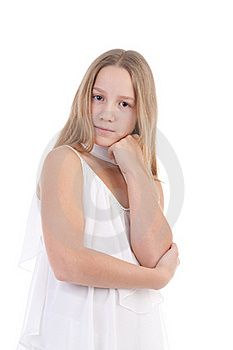 The Girl In A White Dress Stock Photos - Image: 17755783