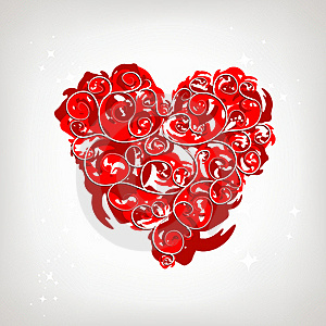Heart Shape, Floral Ornament For Your Design Royalty Free Stock Image - Image: 17760446