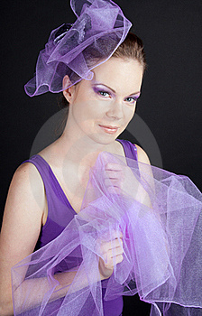 Beautiful Young Woman In Violet Hat Stock Photo - Image: 17764780