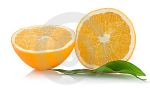 Two Halfs Of Cropped Orange Withleaves Stock Photos - Image: 17764803