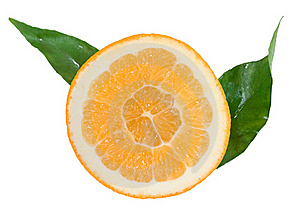 Orange Segment With Green Leaves Royalty Free Stock Image - Image: 17764906