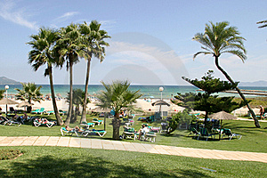 View On A Park In A Front Of Beach And Sea Stock Photography - Image: 17765482