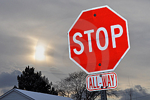 Stop Sign On A Cloudy Winter Day Stock Images - Image: 17768634
