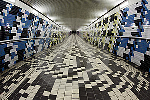 Walking In A Pedestrian Tunnel Stock Image - Image: 17780031