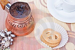 Turkish Coffee In Copper Coffee Pot With Cookies Stock Photography - Image: 17780082