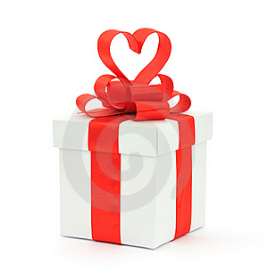 Gift Box, Bow And Heart Stock Image - Image: 17780261