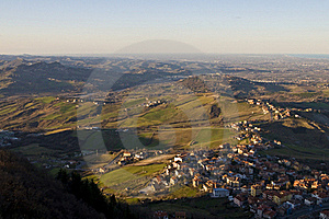 Hills And Villages Unther Sunset Stock Image - Image: 17781581