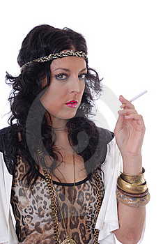 Pretty Young Female Isolated With Cigarette Stock Image - Image: 17786771