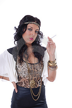Pretty Young Female Isolated With Cigarette Royalty Free Stock Images - Image: 17786779