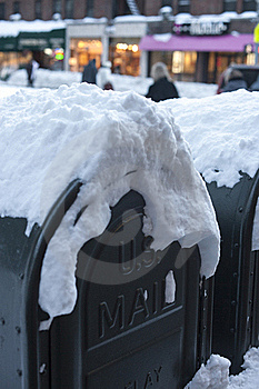 Mail Box In Snow Stock Photo - Image: 17790040