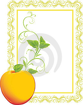 Yellow Apple With Sprig In The Decorative Frame Royalty Free Stock Photo - Image: 17791705