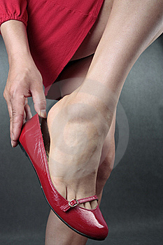 Woman Legs Red Heels Over Grey Stock Image - Image: 17791791