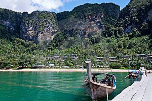 Longtail Boat Moored At Pontoon In Thailand Royalty Free Stock Photo - Image: 17792885