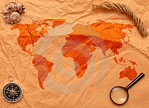 Loupe, Compass And Rope On Old Map Royalty Free Stock Photos - Image: 17795708