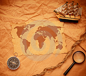Model Classic Boat, Compass And Rope Royalty Free Stock Image - Image: 17795876