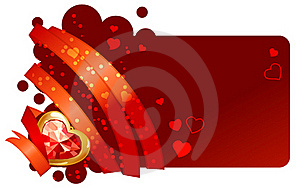Red Ribbon And Jewel On Red Background Stock Photos - Image: 17797183
