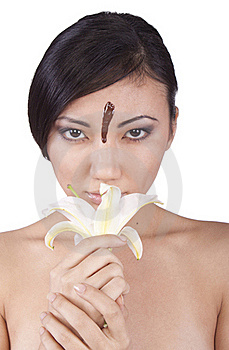 The Girl With Lily, Chocolate On His Face. Stock Photography - Image: 17798042