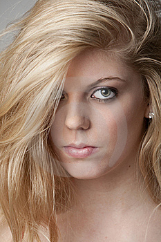 Intense Close-up Of Pretty Blonde Girl Royalty Free Stock Image - Image: 17798206