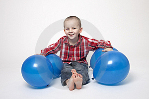 Portrait Of Cute Boy With Blue Balloons Royalty Free Stock Image - Image: 17799056