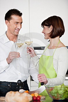 Happy Couple Toasting With Glass Of Wine Royalty Free Stock Photos - Image: 17799568