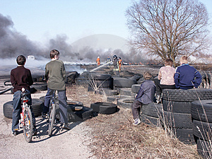 Kids Observing Firemans Royalty Free Stock Image - Image: 1780906