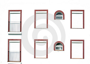 Windows With Red Frames Stock Photos - Image: 1785253
