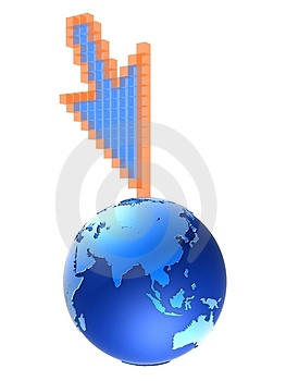 3d cursor globe Stock Photo