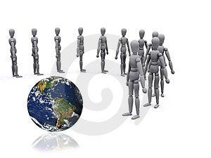 3d-Menschen zu Fuß in Richtung der ganzen Welt, wie eine Gruppe.