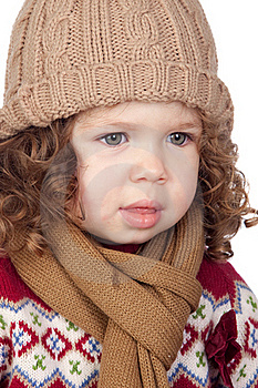 Beautiful Baby Girl With Wool Cap Stock Image - Image: 17800621