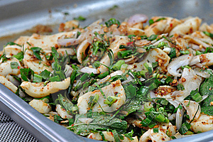 Spicy Miced Squid Salad Royalty Free Stock Image - Image: 17801266