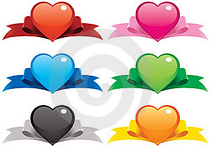 Valentine Hearts And Ribbons Stock Photography - Image: 17808332