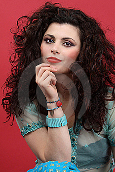 Fashion Model With Long Curly Hair Stock Photo - Image: 17810450