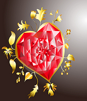 Golden Heart With Ruby Stock Images - Image: 17811474