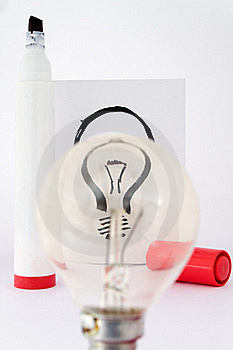 Lightbulb And Drawing Pen Stock Images - Image: 17813424