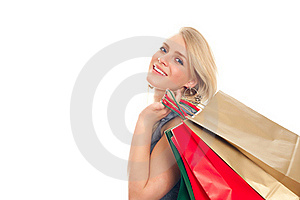 Lovely Blond With Shopping Bags Royalty Free Stock Photos - Image: 17815228