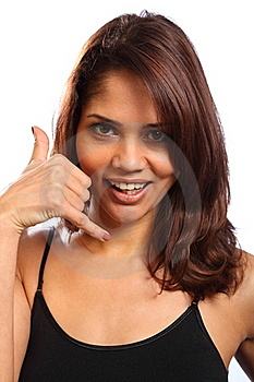 Call Me Hand Signal By Beautiful Young Woman Stock Image - Image: 17817711