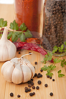 Garlic And Pepper With Other Spices Stock Photography - Image: 17817882