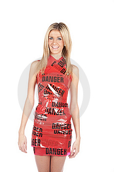 Danger Tape On Woman Stock Image - Image: 17818881