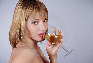 Lovely Girl Holding A Glass Of Wine Royalty Free Stock Photos - Image: 17819388