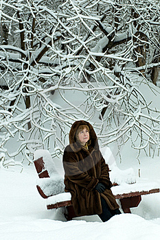Mature Woman In A Winter Forest Royalty Free Stock Photo - Image: 17819405