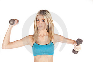 Woman Blue Weights One Up One Out Stock Photos - Image: 17819433