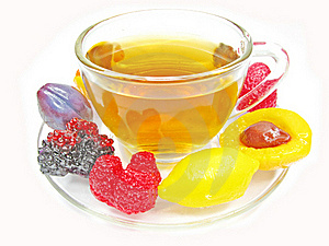 Marmalade Gelatin Fruits And Tea Cup Royalty Free Stock Images - Image: 17821209