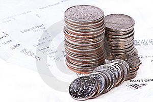 Pile Of Coins And Checks Stock Photography - Image: 17823702