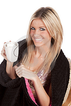 Woman Blanket Mug Smile Stock Images - Image: 17826244