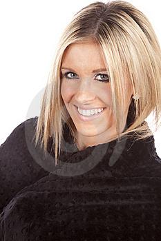 Woman Wrapped In Blanket Smile Royalty Free Stock Photography - Image: 17827187