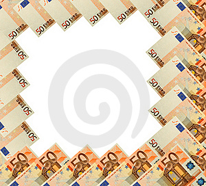 Abstract Frame Of 50 Euro Banknote On White Royalty Free Stock Image - Image: 17827466